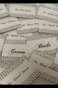 Rhinestone Bling Wedding Place card Escort by EVERYYlittleDETAIL, $2.00 card escort, name cards, escort cards for wedding, wedding places, wedding place cards, bling wedding, head tables, table numbers, rhineston bling
