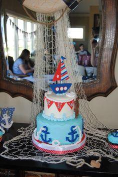 Nautical 1st Birthday party cake
