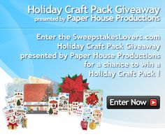 Enter the SweepstakesLovers.com Holiday Craft Pack Giveaway presented by Paper House Productions for a chance to win an Holiday Craft Pack !    http://www.sweepstakeslovers.com/our-giveaways/sweepstakeslovers-com-holiday-craft-pack-giveaway-presented-by-paper-house-productions/