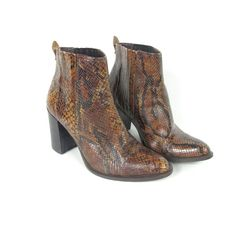 90s Snakeskin Leather Chunky Heel Ankle Boots by honeymoonmuse, $120.00
