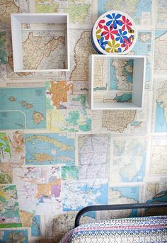 map wall - Love this idea