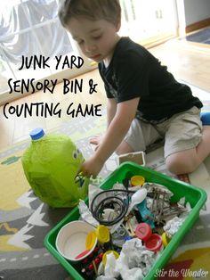 Junk Yard Sensory Bin & Counting Game - Stir The Wonder