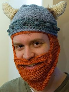 Ha ha ha love the crochet viking hat, love the crochet beard, and the two together- I can hardly stand it!