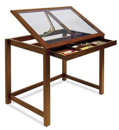 Sierra Drafting Table with safety glass top
