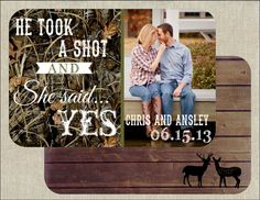 He Took a Shot and She said Yes - Wedding Save the Date (Camo) on Etsy, $15.00