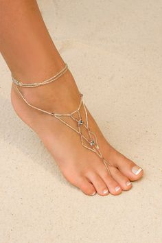 Adorn your feet with our new 'Foot Jewelry' made from a combination of Svarovski crystals and glass beads. Sold in pairs. celtic designs, beaches, foot jewelri, beach destin, at the beach, beach weddings, beach vacations, barefoot sandal, shoe