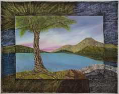 """Above Lake Cuyamaca, landscape art quilt by Ann L. Scott. """"The quilt contains my own hand painted fabric, as well as commercial fabrics and is hand appliqued and machine stitched."""""""