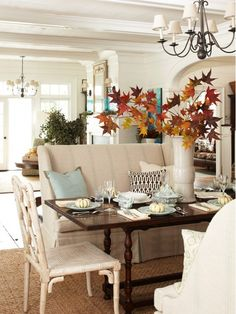 dining rooms, fall leaves, dine room, fall table, color, seat, fall decorating, sette, dining tables