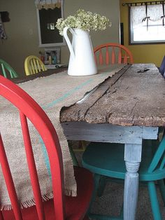 burlap table runner. from Donna's farm tables feature at Funky Junk Interiors.