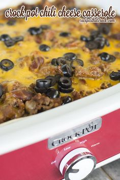 Crock Pot Chili Cheese Casserole: A family favorite layered casserole for the slow cooker that tastes a lot like chili cheese burritos! Yum!