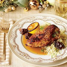Tangy-Sweet Lemon Chicken | Mediterranean flavors meld deliciously in this chicken dish. Bone-in breasts are meaty and cook perfectly in the moist heat of the braise.