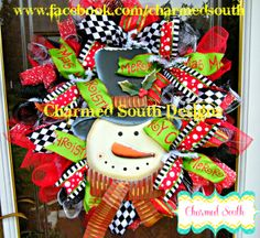 Whimsical Christmas wreath.  Follow us at www.facebook.com/charmedsouth