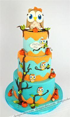Cute Owls 3 tiered Cake I love owls hello sweet 16 cake!!!!