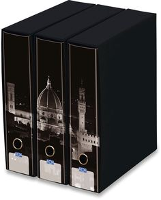 KAOS Lever Arch Files 2ring Binders with slipcase, Spine 8 cm, 3 pcs Set   - FLORENCE AT NIGHT - 3 pcs Set Dimensions: 26.8x35x29 cm