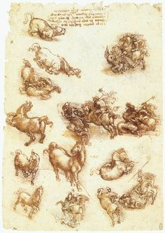 Page: Study sheet with horses  Artist: Leonardo da Vinci  Completion Date: c.1513  Place of Creation: Rome, Italy  Style: High Renaissance  Genre: sketch and study  Technique: chalk, ink  Material: paper  Dimensions: 29.8 x 21.2 cm  Gallery: Royal Collection, Windsor Castle, London, UK