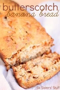 Six Sisters Butterscotch Banana Bread Recipe is moist and loaded with butterscotch chips! YUM