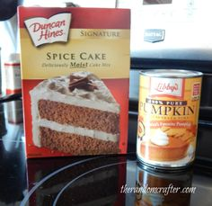 Spice cake mix and pumpkin puree.. my favorite 2 ingredient muffins ever!
