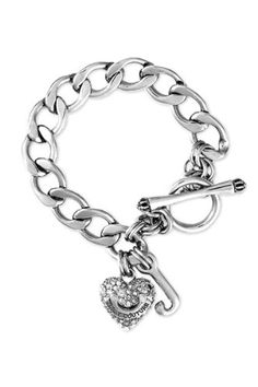 Juicy Couture Pave Heart Starter Charm Bracelet in Silver