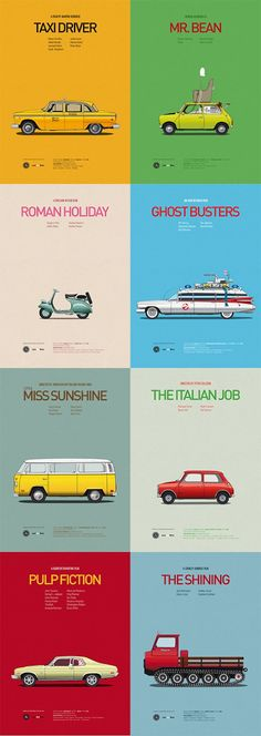 Awesome posters: Famous cars in movies.