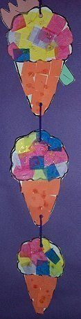 Tissue Paper Ice Cream Cone Mobile-childcareland.com - Early Learning Activities For Pre-K and Kindergarten