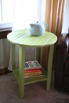 Side Table DIY for about $5 (uses 1 1x2 2 1x4 and 1 2x2)!  I need two of these to flank the sofa