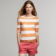Mix bold stripes with fun bright colored shorts in summer http://rstyle.me/g2t88wbu6e