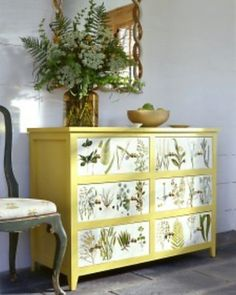 "Thrift Store Furniture Makeovers • Tutorials and ideas, including this ""botanical dresser makeover"" by 'Martha'!"