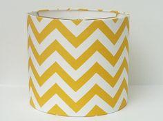 Drum Lamp Shade in yellow and white chevron / zigzag fabric. $65