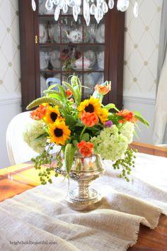Autumn centerpiece wih sunflowers