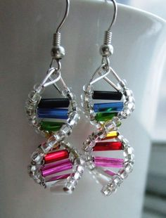Rainbow wire earrings