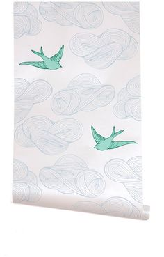 downstairs 1/2 bath wallpaper, from Hygge and West. blue clouds and green birds.