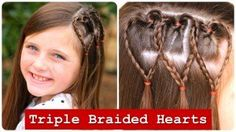 Triple Braided Hearts | Valentine's Day Hairstyles...   Learn how to create this adorable #CGH3BraidHearts hairstyle for #ValentinesDay via this short video tutorial! {Photos included.} #HeartHairstyles