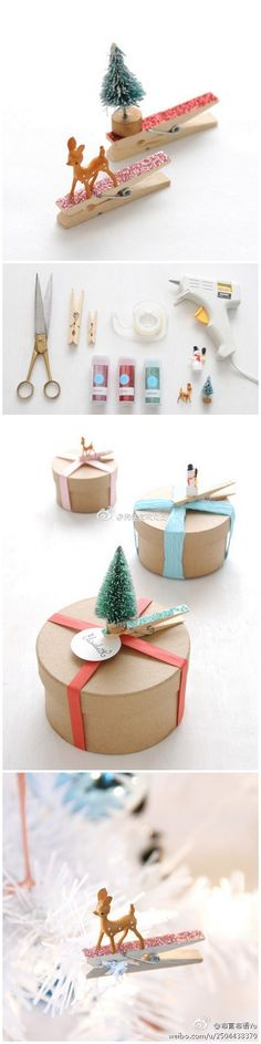 Christmas DIY, glitter clothespins and add small figurines to make cute package decorations.