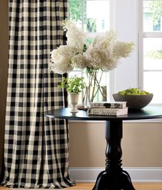 Love the gingham curtains..