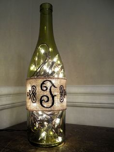 Great gift for the bridal party!!  Embroidered Burlap Lighted Wine Bottle by DazzleMePink on Etsy, $26.99