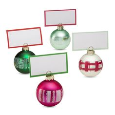 Welcome your guests with the Oh Joy for target glass ornament place card holders.