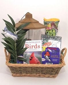 Bird Lovers Gift Basket-Fun gift for kids and adults alike. Educational too! gift baskets, raffl basket, basket idea, bird basket, bird lover, lover gift, lover basket, bird watcher