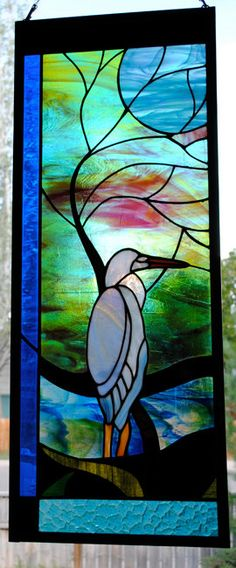 Cortney Litwin Blue Heron with Moonlit Tree by stainedglassfusion