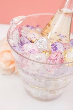 Add some sparkle to the ice bucket at your next bridal shower with these gorgeous glitter ice cubes.