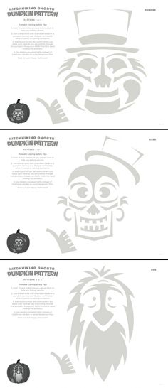 Disney Haunted Mansion Hitchhiking Ghosts Pumpkin Carving Stencils