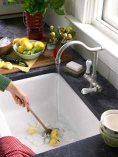 Combat odor-causing bacteria in your sink's garbage disposer with cubes of frozen white vinegar. Toss a few down the drain, and, with the cold tap turned on, run the disposer for about a minute to remove built-up food and grease residue. Mix in a few citrus peels to leave the disposer smelling fresh.   Photo: John Gruen   thisoldhouse.com