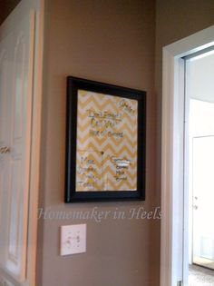 Homemade dry erase board...Fabric is used in this one. I used scrapbook paper for mine.