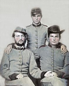 Three brothers Confederate Soldiers, Artillerymen. Probably 1861.