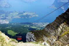 Gondola ride down from the top of Mt. Pilatus, Switzerland