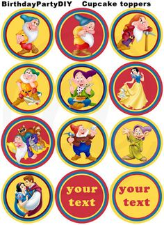 Disney Snow white PRINTABLE Cupcake toppers, stickers, favor tags. $4.50, via Etsy.