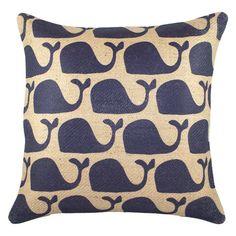 #Navy #Whales Burlap Pillow - sweet little blue whales....