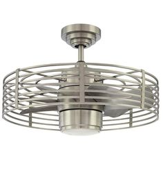 This space-saving ceiling fan is ideal for smaller rooms. It looks terrific, too, with its industrial-chic design and nickel finish. It comes with a remote control, too. Click through to see more about this breezy beauty.