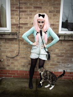 Heart Shaped Bag, Bow Ring, Black Tights And Knee High Socks, Next Door's Cat, D.I.Y. Velvet Bow Clip, Ribbons, Asos Sleeveless Cream Tie Shirt, Mint Cardigan, Black Ballet Pumps, D.I.Y. Satin Mint Playsuit (From A Top)