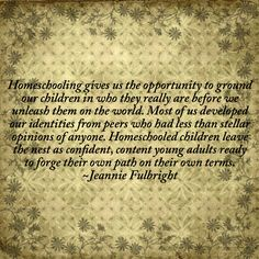 A thought about homeschooling...