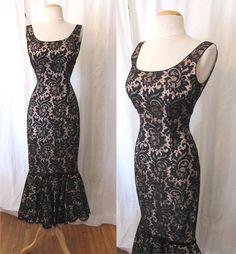 Slinky 1950's Black Lace Mermaid dress Wiggle by wearitagain, $495.00